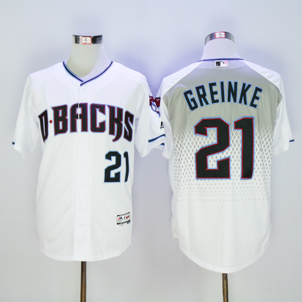 Men Arizona Diamondback 21 Greinke White MLB Jerseys