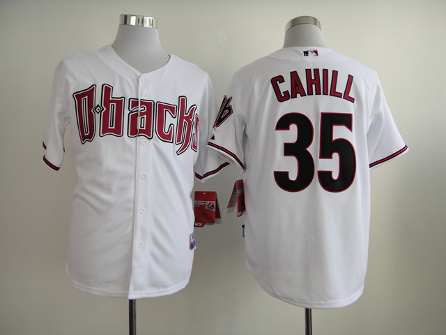Men Arizona Diamondback 35 Cahill White MLB Jerseys
