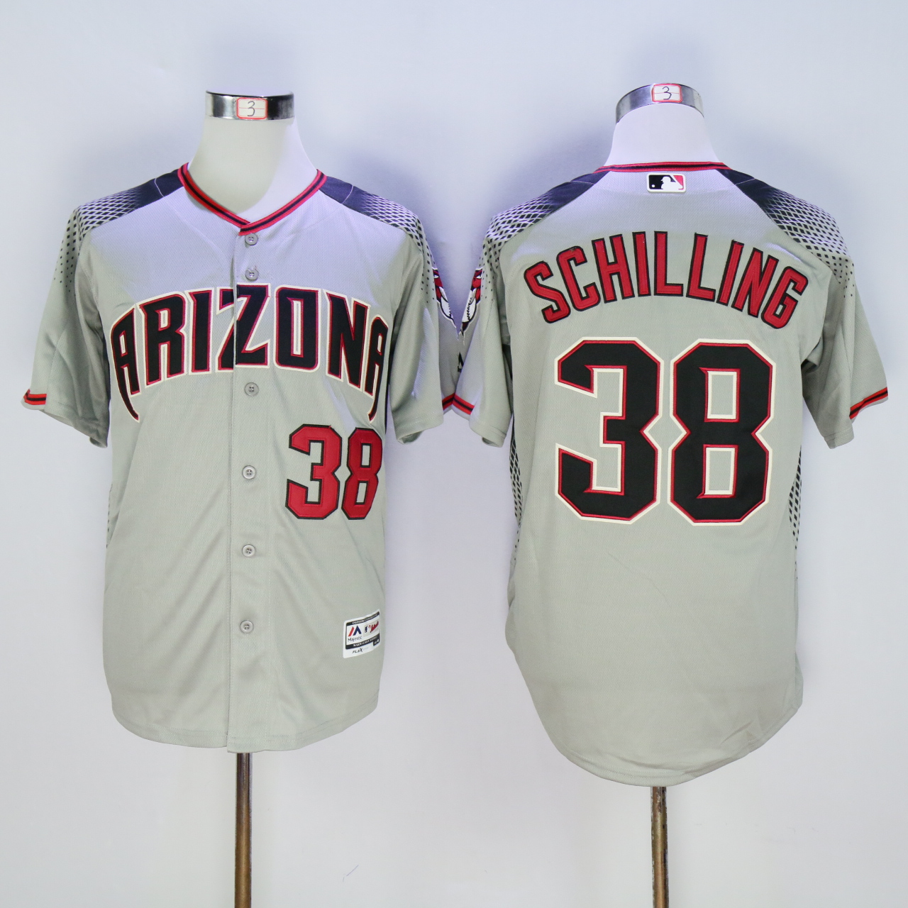 Men Arizona Diamondback 38 Schilling Grey MLB Jerseys1