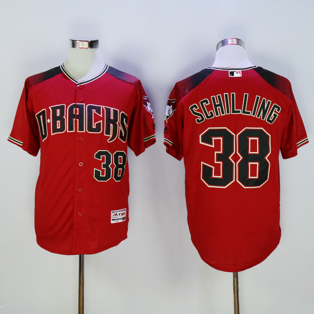 Men Arizona Diamondback 38 Schilling Red MLB Jerseys