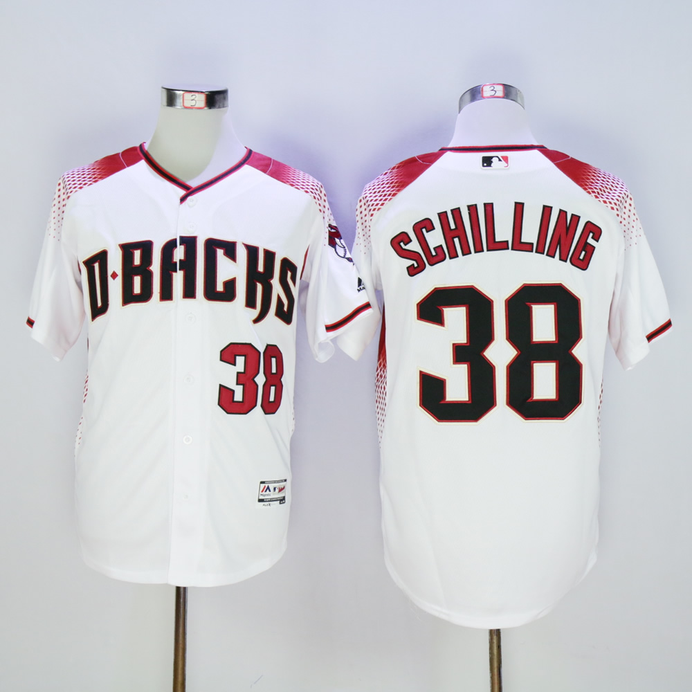Men Arizona Diamondback 38 Schilling White MLB Jerseys