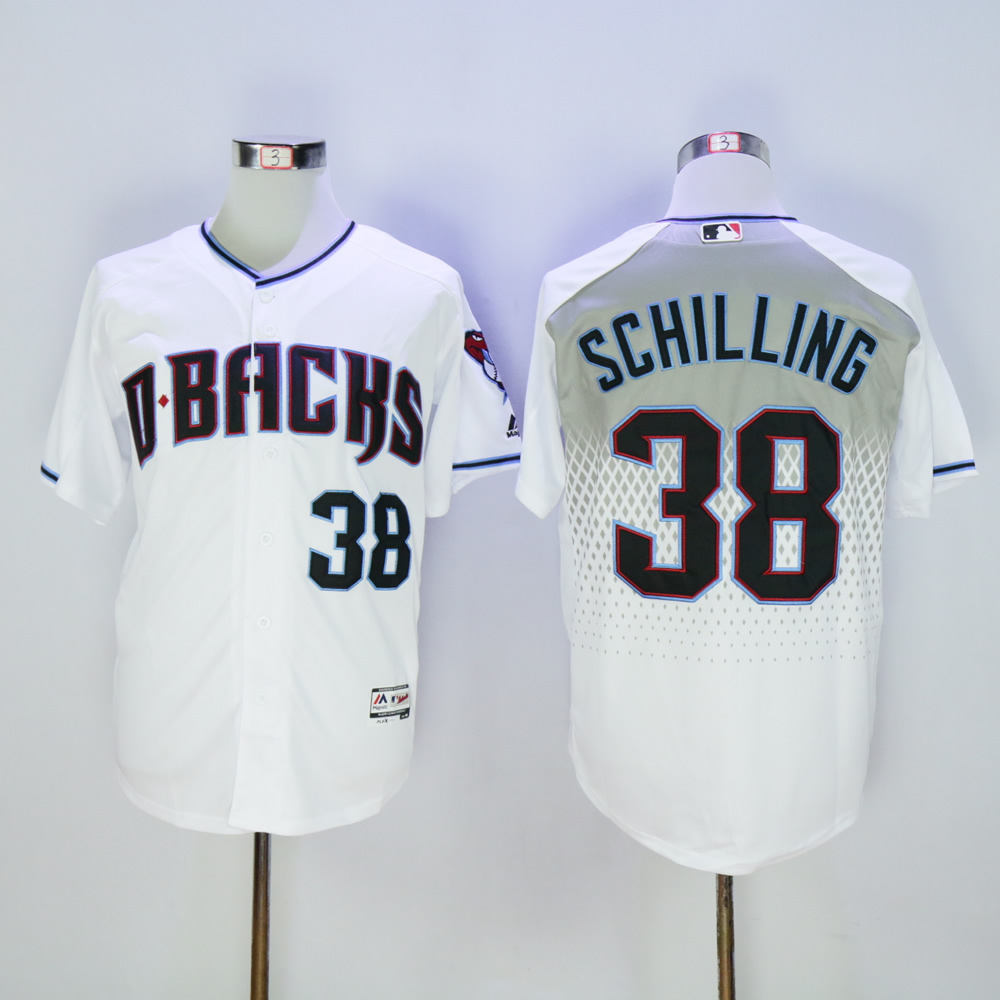 Men Arizona Diamondback 38 Schilling White MLB Jerseys1