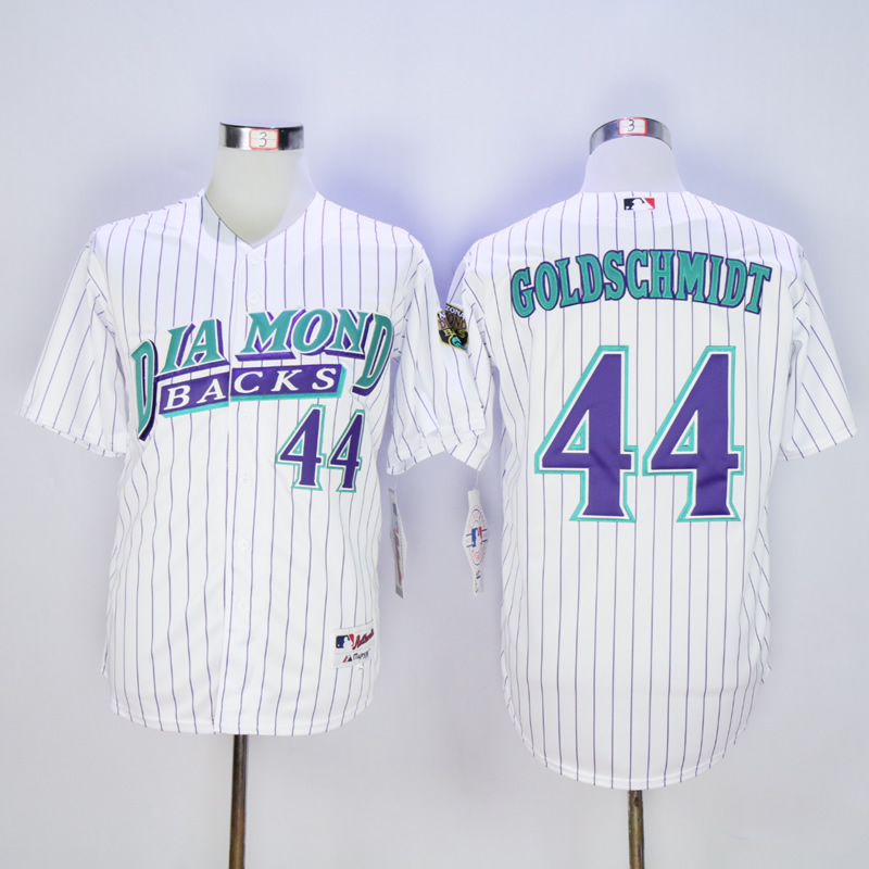 Men Arizona Diamondback 44 Goldschmidt White Stripe MLB Jerseys