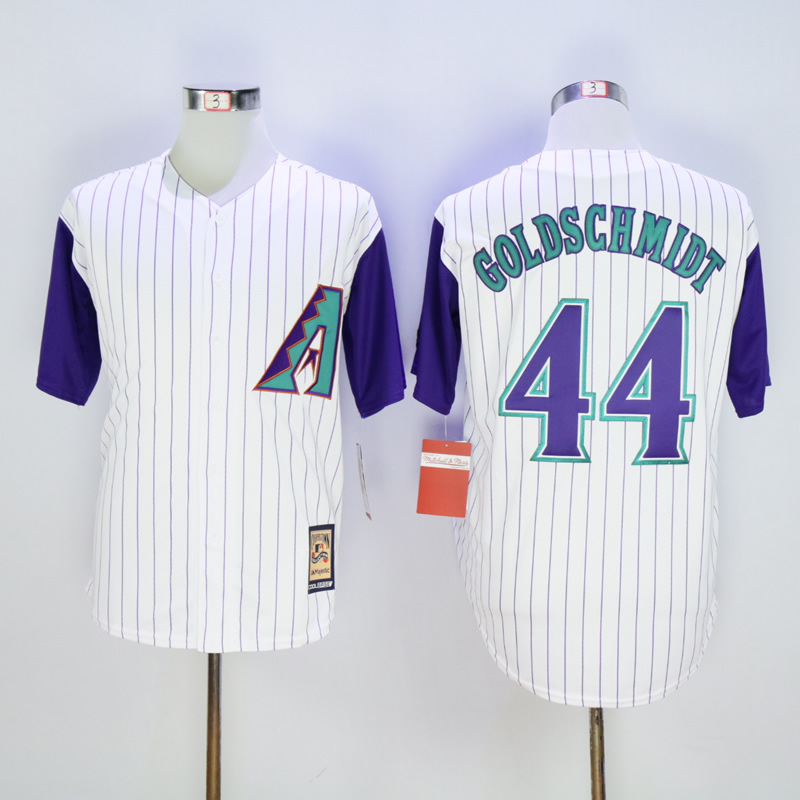 Men Arizona Diamondback 44 Goldschmidt White Stripe Throwback MLB Jerseys