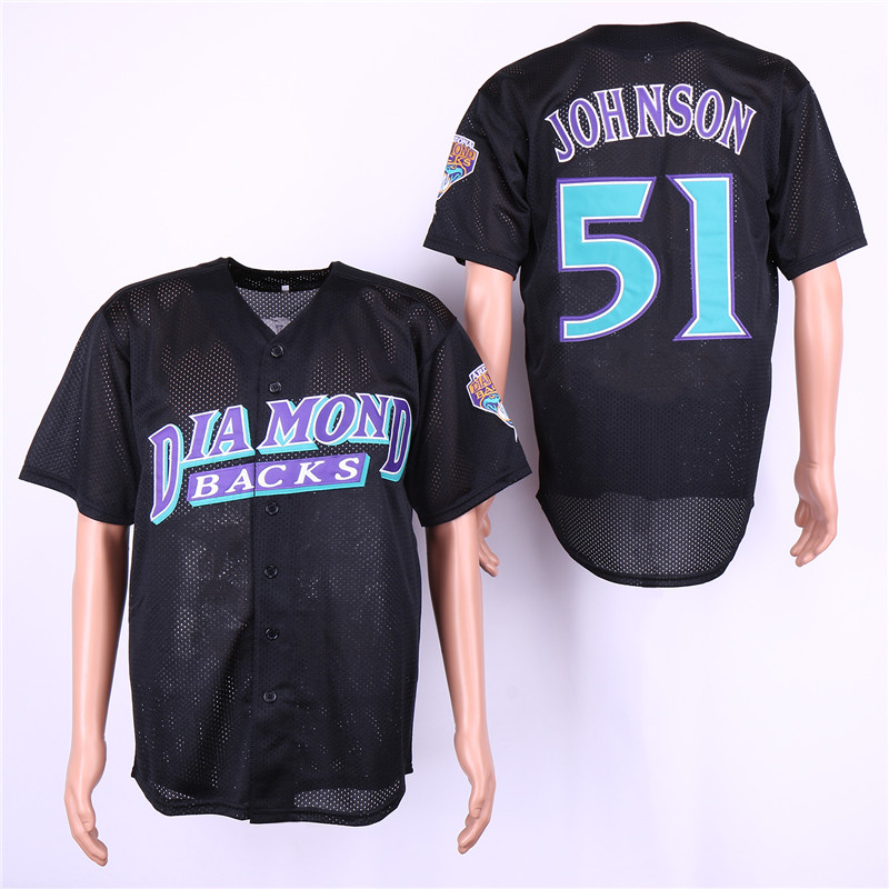 Men Arizona Diamondback 51 Johnson Black MLB Jerseys