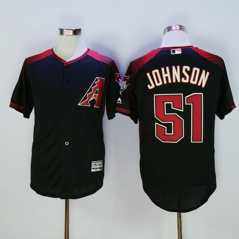 Men Arizona Diamondback 51 Johnson Black Throwback MLB Jerseys