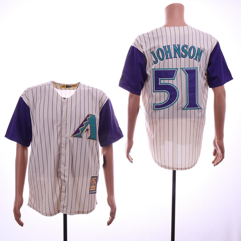 Men Arizona Diamondback 51 Johnson Cream Stripe MLB Jerseys