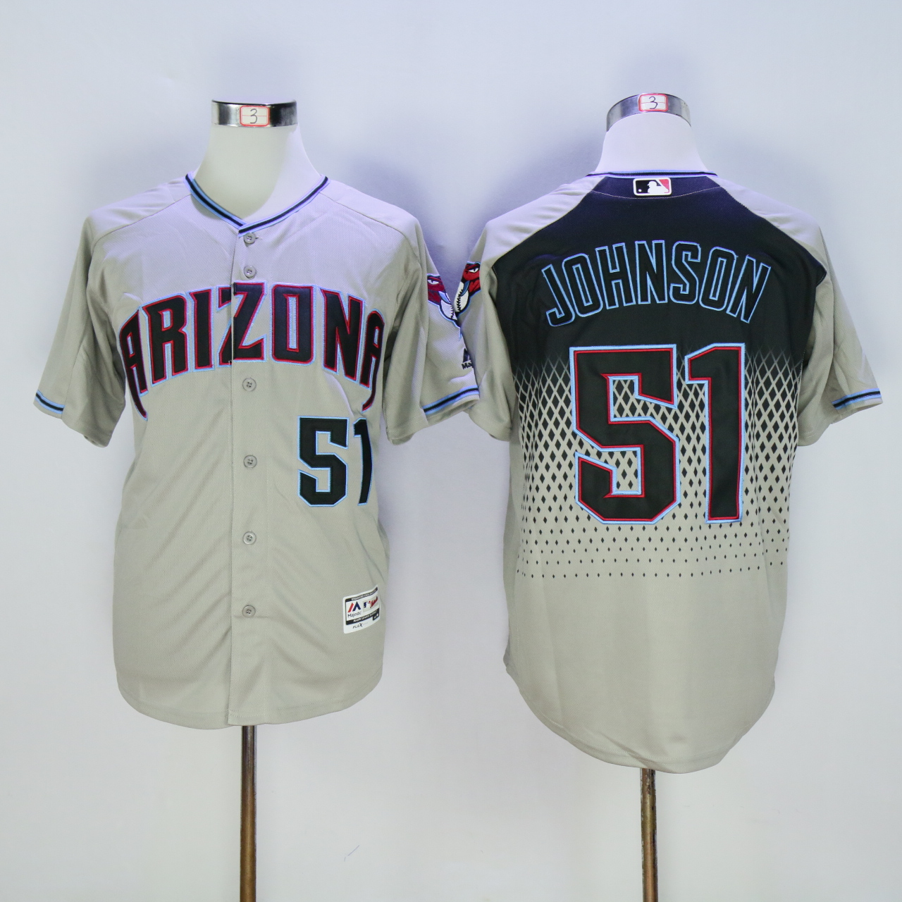 Men Arizona Diamondback 51 Johnson Grey MLB Jerseys