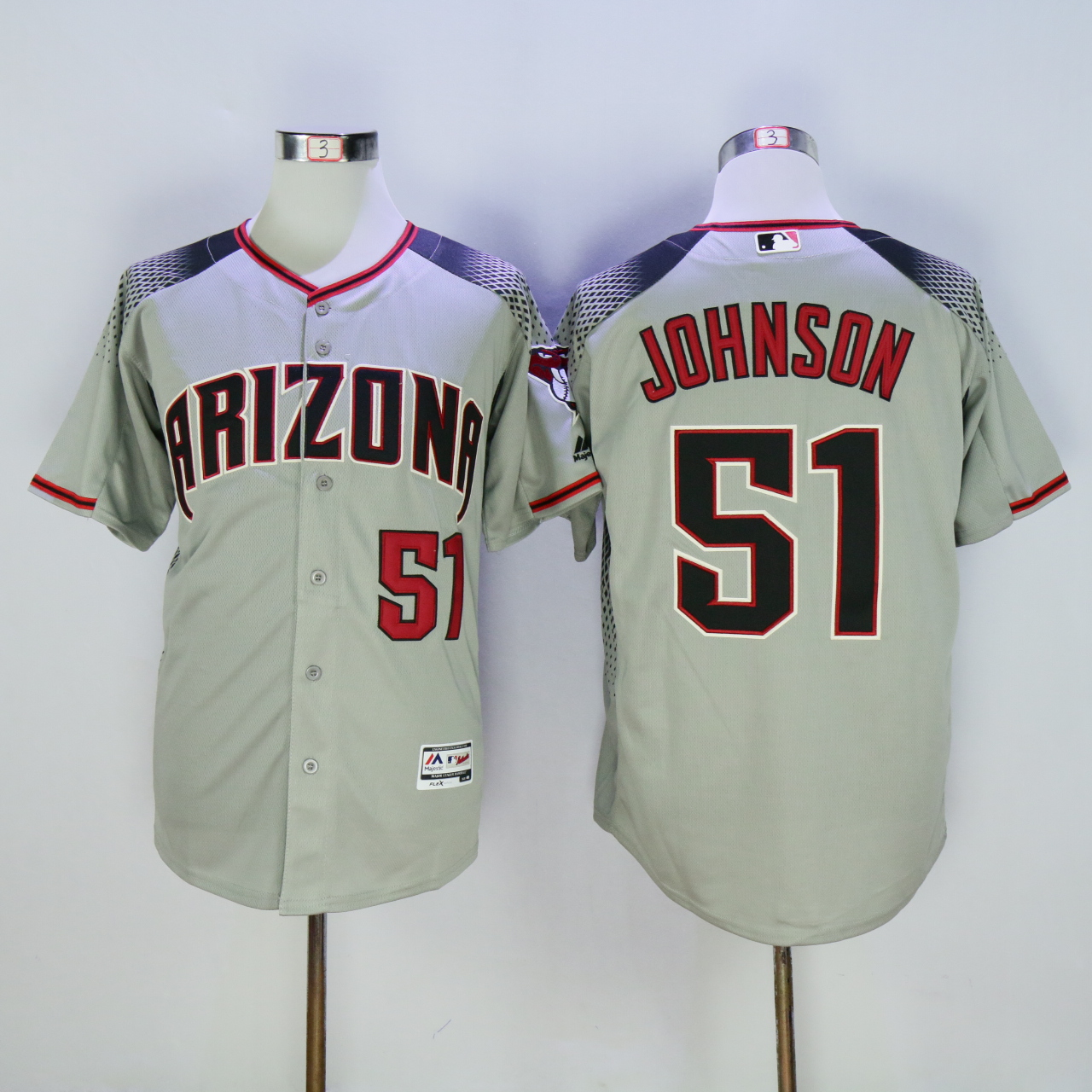 Men Arizona Diamondback 51 Johnson Grey MLB Jerseys1