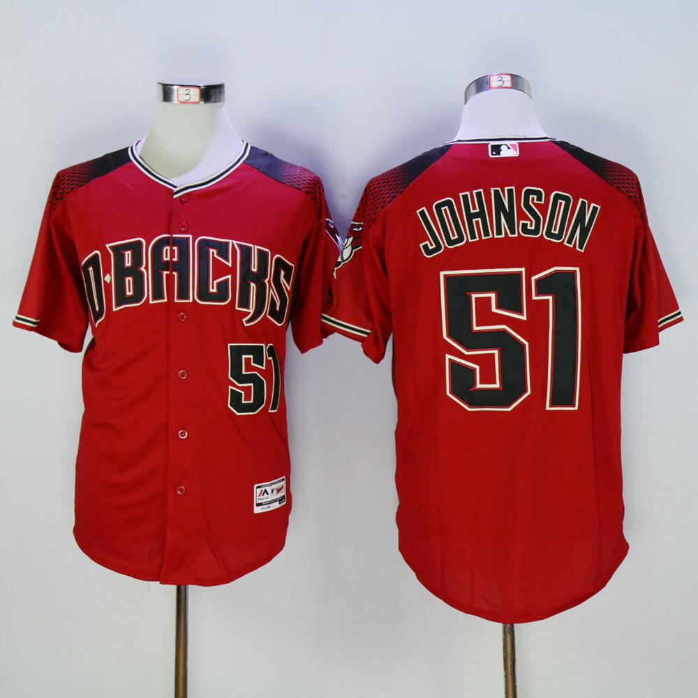 Men Arizona Diamondback 51 Johnson Red MLB Jerseys
