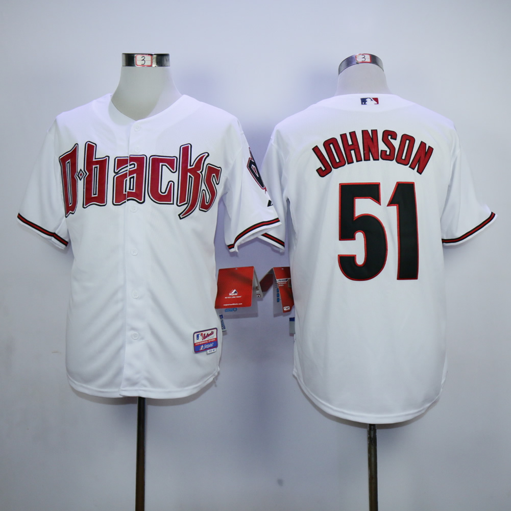 Men Arizona Diamondback 51 Johnson White MLB Jerseys1