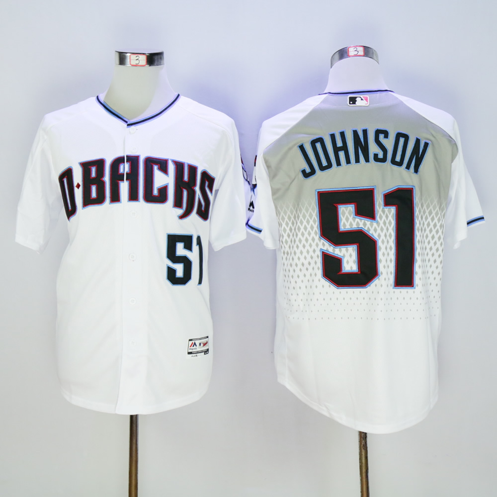 Men Arizona Diamondback 51 Johnson White MLB Jerseys3