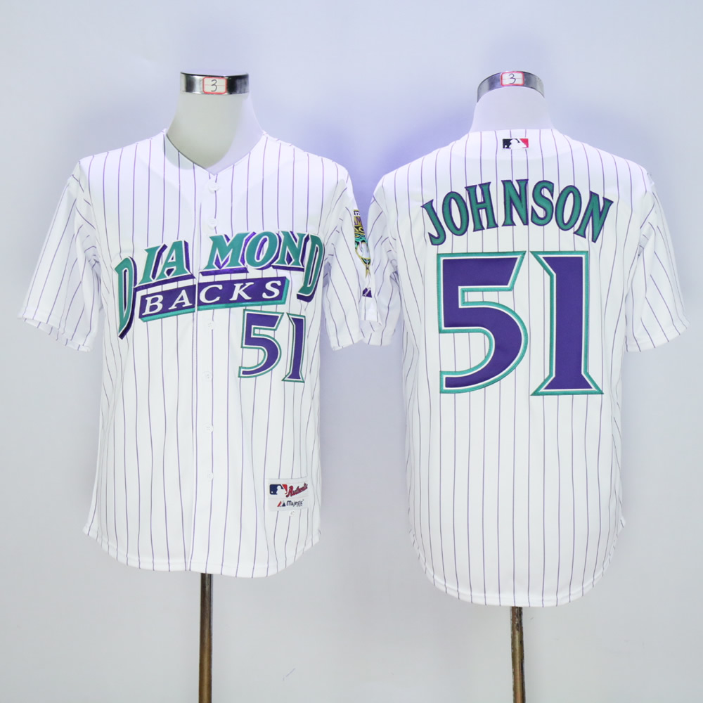 Men Arizona Diamondback 51 Johnson White Stripe 1999 MLB Jerseys