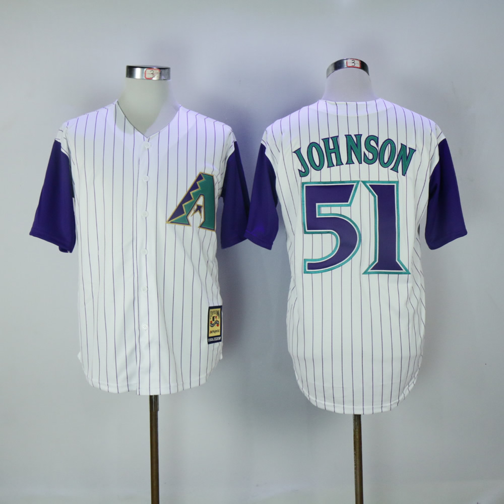 Men Arizona Diamondback 51 Johnson White Stripe MLB Jerseys