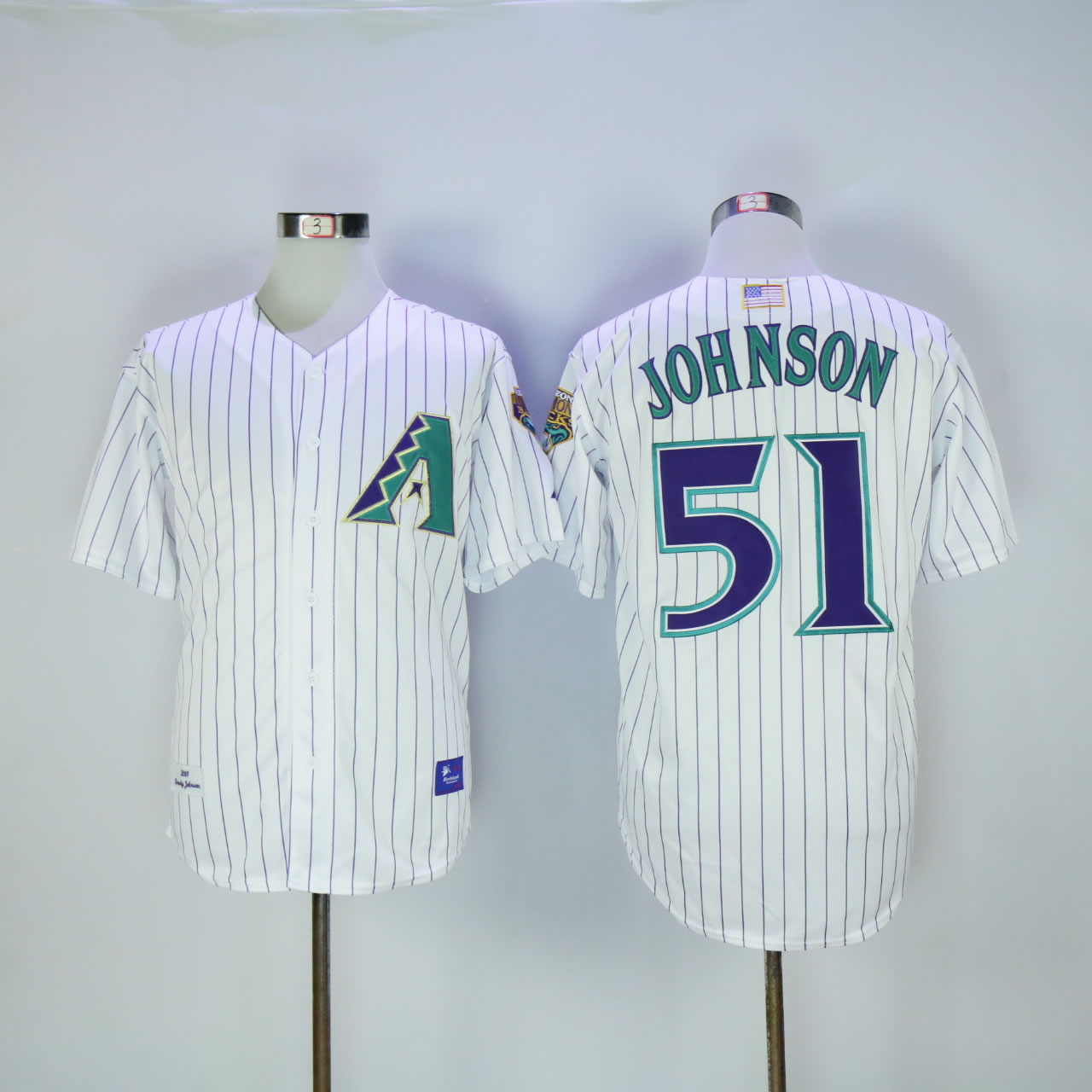 Men Arizona Diamondback 51 Johnson White Stripe Throwback 2001 MLB Jerseys