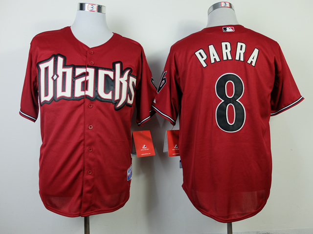 Men Arizona Diamondback 8 Parra Red MLB Jerseys