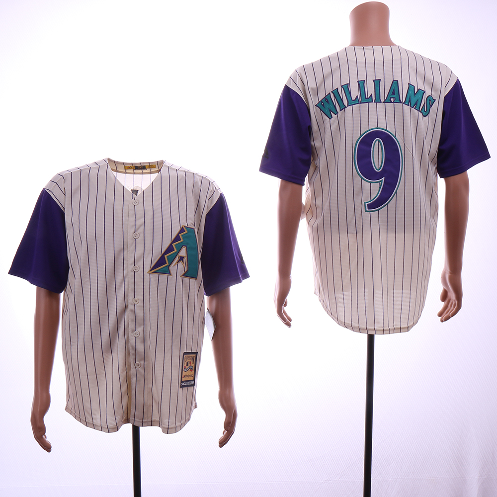 Men Arizona Diamondback 9 Williams Cream Stripe MLB Jerseys