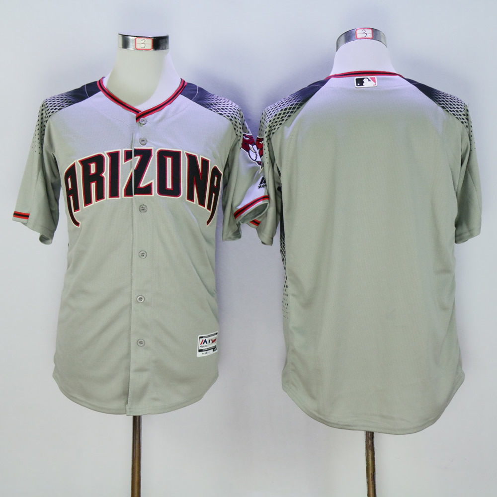 Men Arizona Diamondback Blank Grey MLB Jerseys1