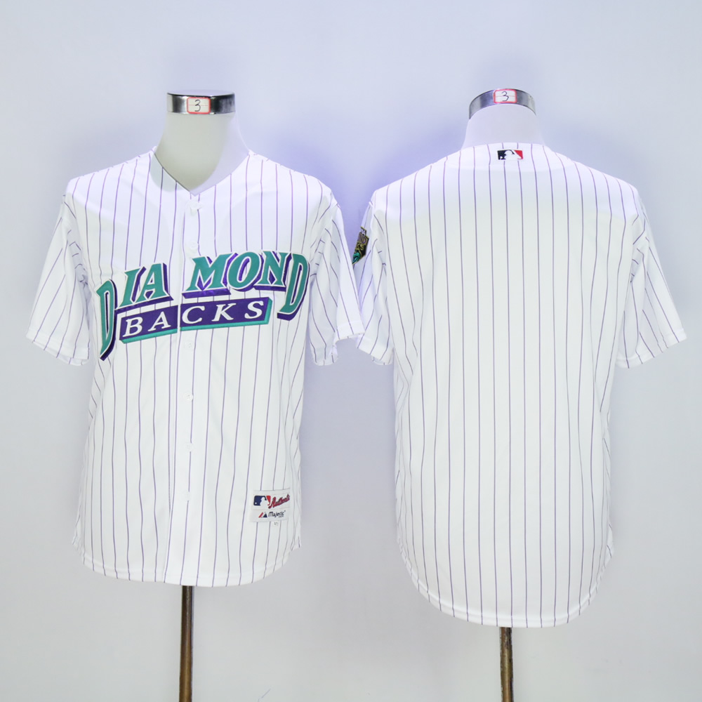 Men Arizona Diamondback Blank White Throwback 1999 MLB Jerseys