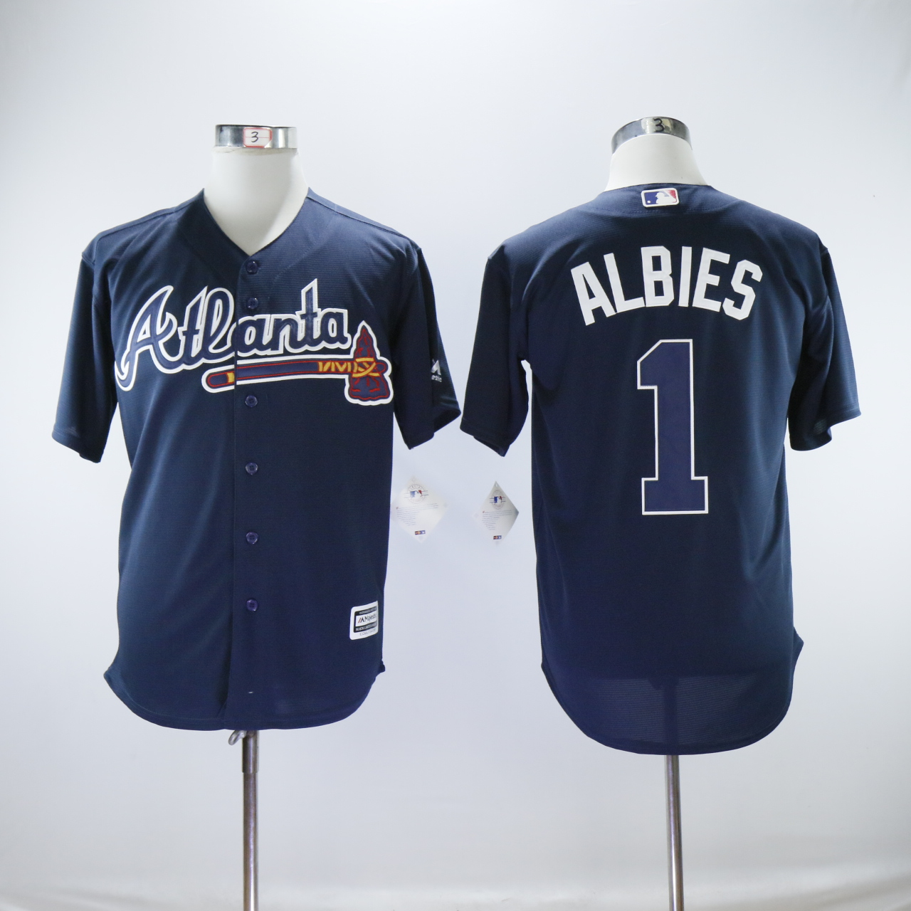 Men Atlanta Braves 1 Albies Blue MLB Jerseys