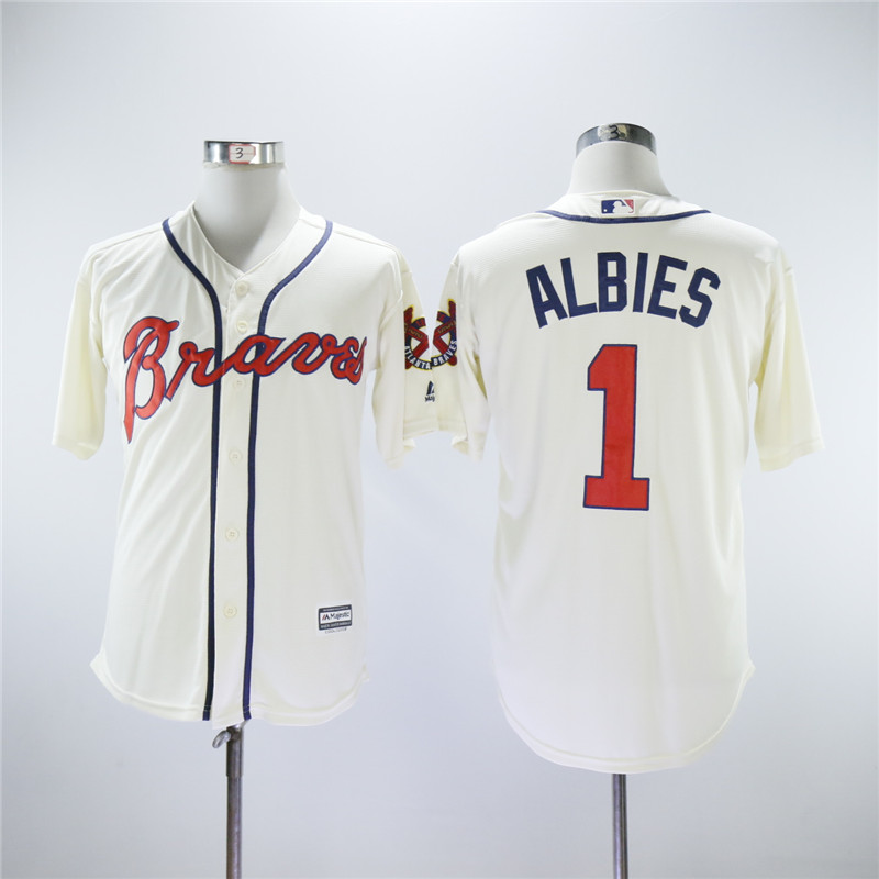 Men Atlanta Braves 1 Albies White MLB Jerseys