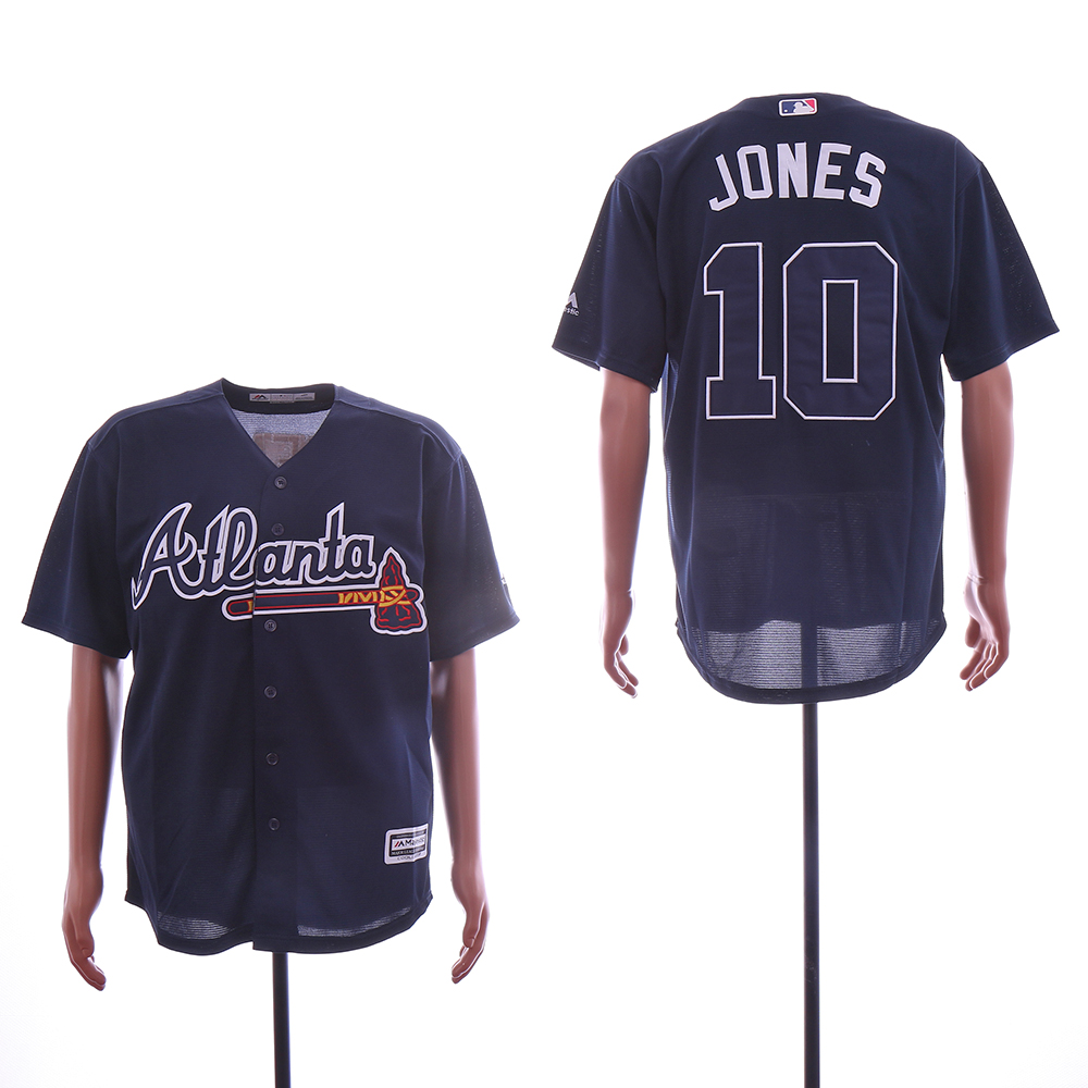 Men Atlanta Braves 10 Jones Blue MLB Jerseys