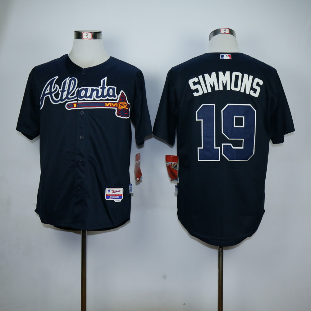 Men Atlanta Braves 19 Simmons Blue MLB Jerseys