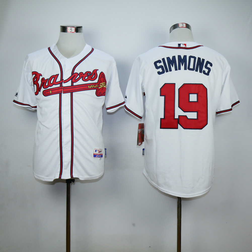 Men Atlanta Braves 19 Simmons White MLB Jerseys