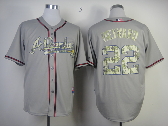 Men Atlanta Braves 22 Heyward Grey Camo MLB Jerseys