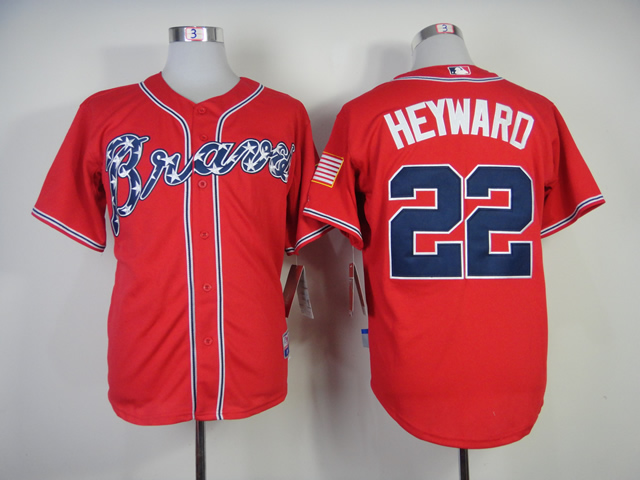Men Atlanta Braves 22 Heyward Red MLB Jerseys