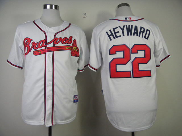 Men Atlanta Braves 22 Heyward White MLB Jerseys