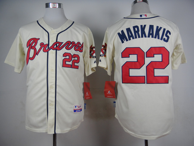 Men Atlanta Braves 22 Markakis Cream MLB Jerseys