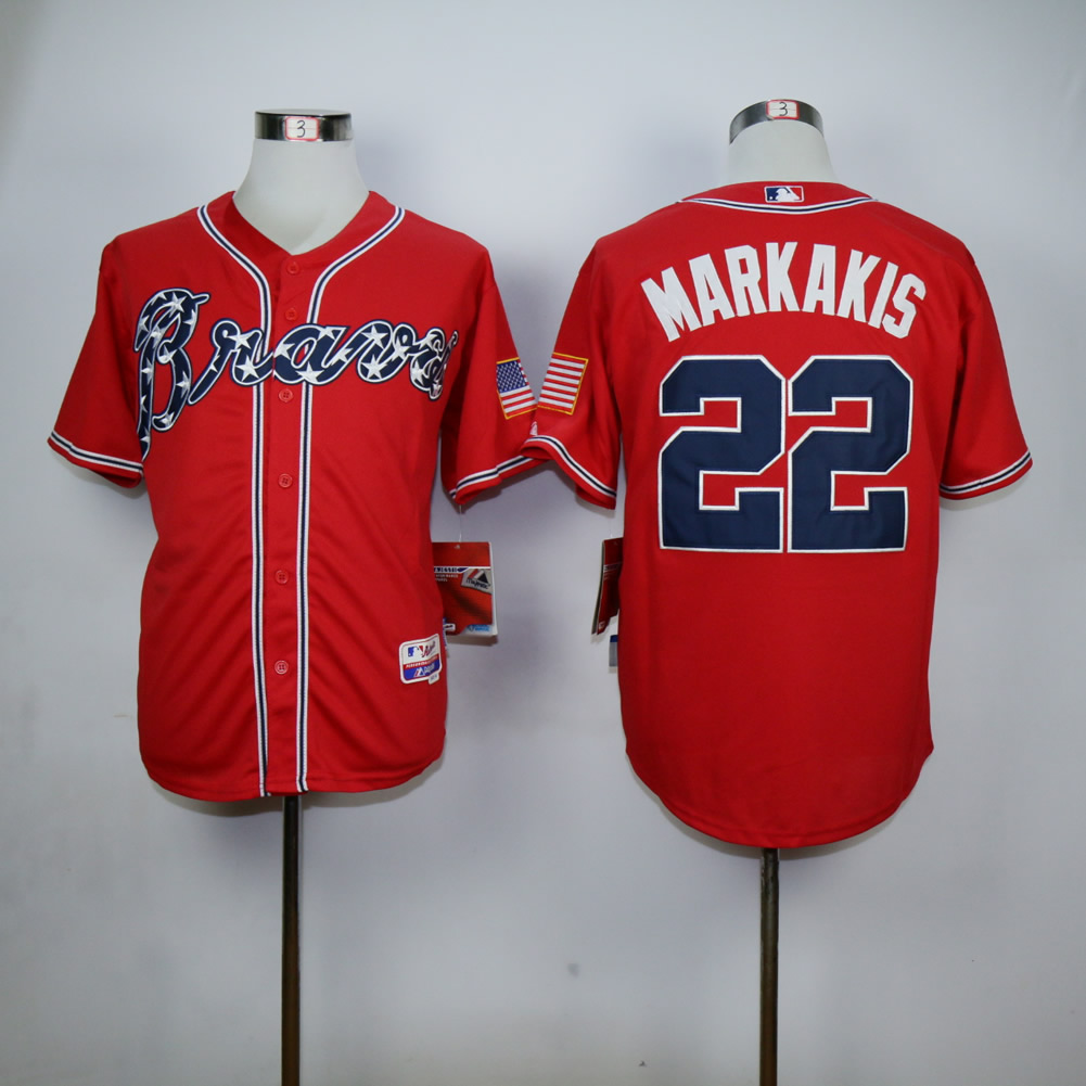 Men Atlanta Braves 22 Markakis Red MLB Jerseys