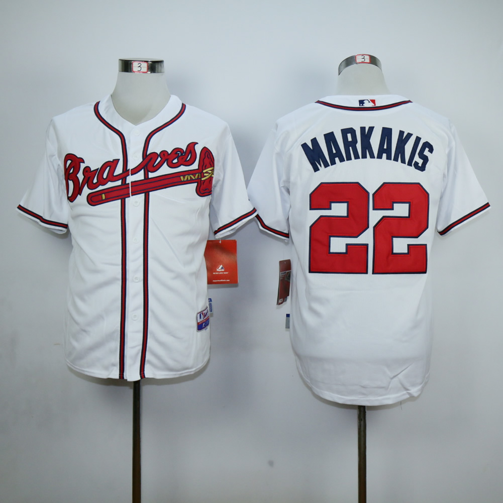Men Atlanta Braves 22 Markakis White MLB Jerseys