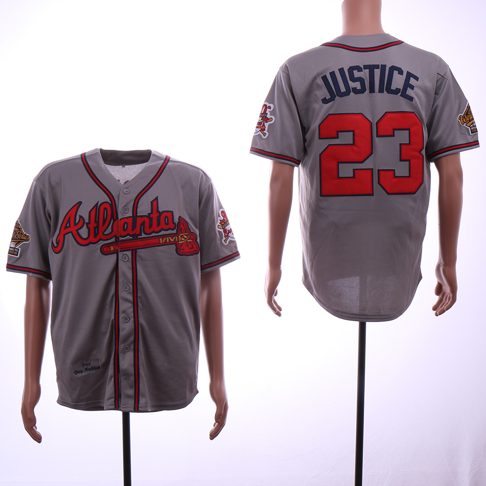 Men Atlanta Braves 23 Justice Grey Throwback 1995 MLB Jerseys