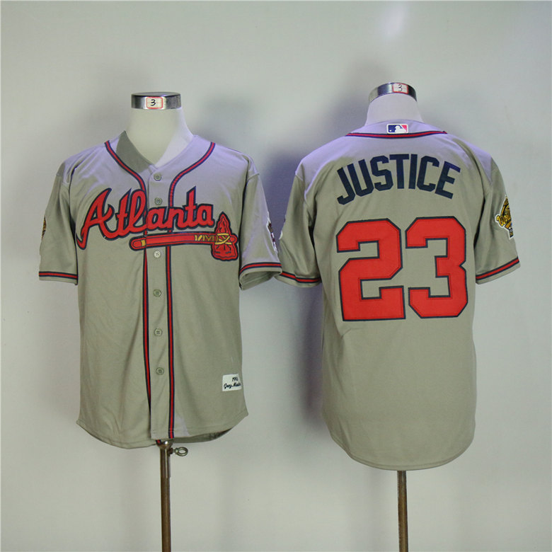 Men Atlanta Braves 23 Justice Grey Throwback MLB Jerseys