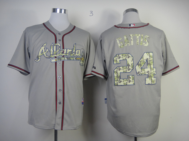 Men Atlanta Braves 24 Gattis Grey Camo MLB Jerseys