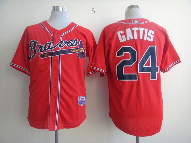 Men Atlanta Braves 24 Gattis Red MLB Jerseys