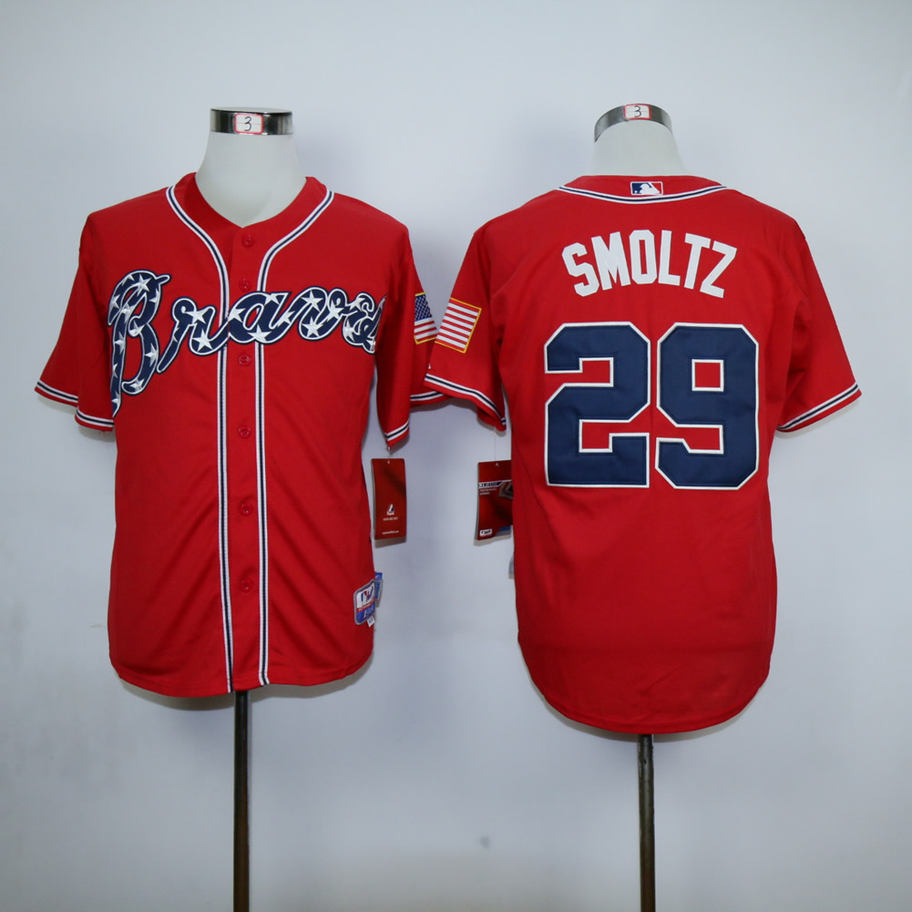 Men Atlanta Braves 29 Smoltz Red MLB Jerseys
