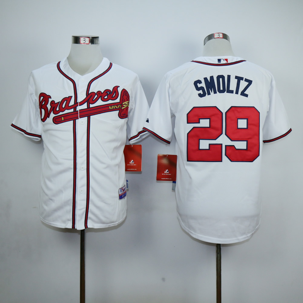 Men Atlanta Braves 29 Smoltz White MLB Jerseys
