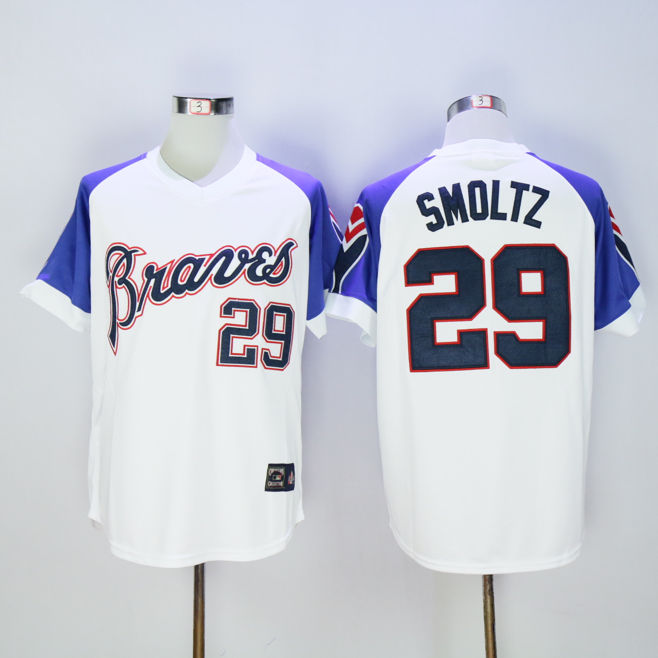 Men Atlanta Braves 29 Smoltz White Throwback 1973 MLB Jerseys
