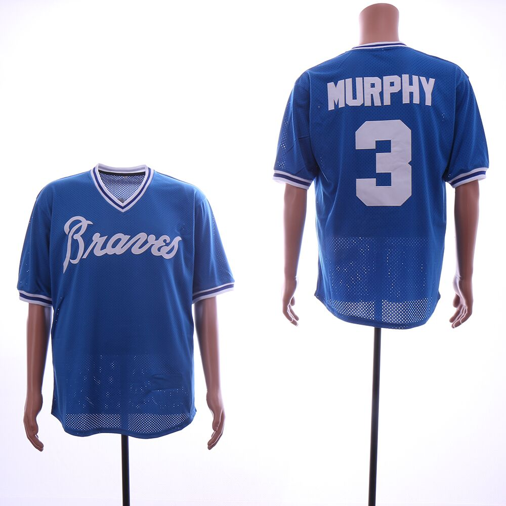 Men Atlanta Braves 3 Murphy Blue MLB Jerseys