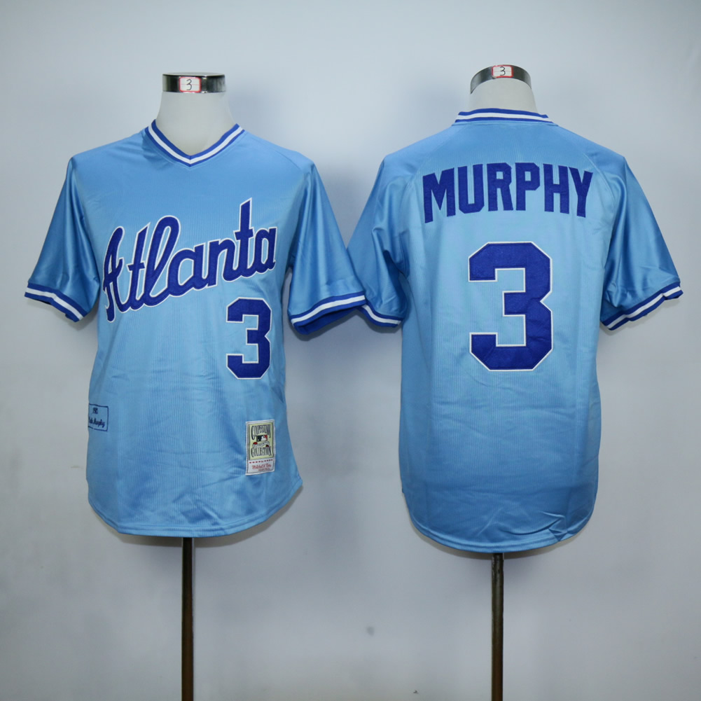 Men Atlanta Braves 3 Murphy Blue Throwback MLB Jerseys
