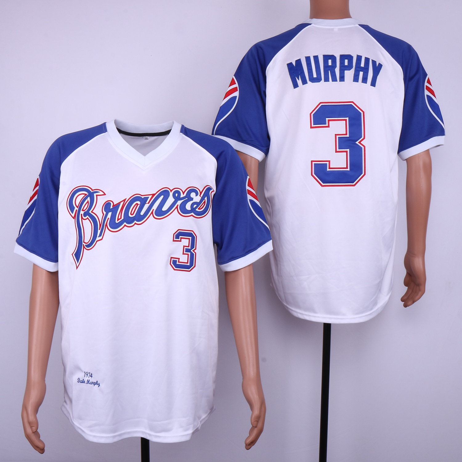 Men Atlanta Braves 3 Murphy White MLB Jerseys