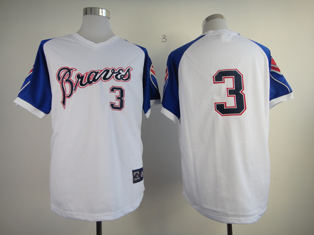 Men Atlanta Braves 3 Murphy White Throwback 1974 MLB Jerseys