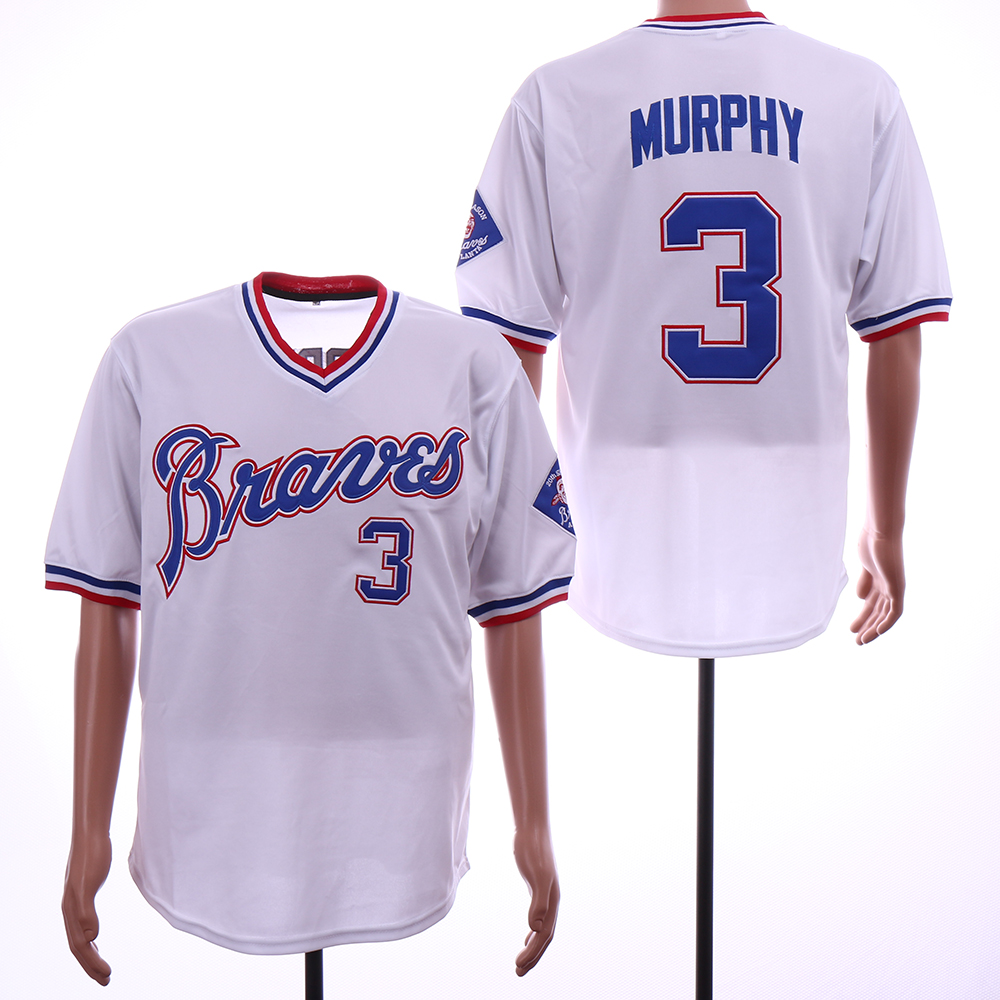 Men Atlanta Braves 3 Murphy White Throwback MLB Jerseys