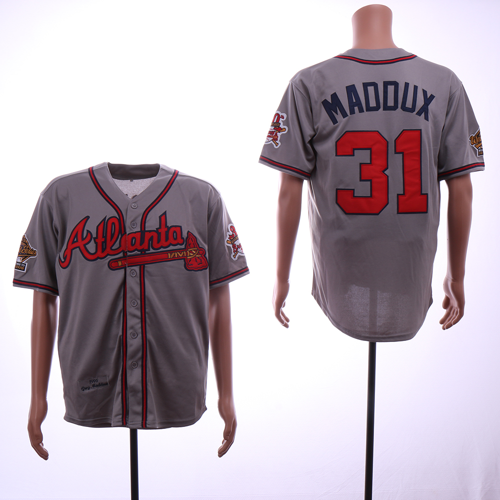 Men Atlanta Braves 31 Maddux Grey Throwback 1995 MLB Jerseys