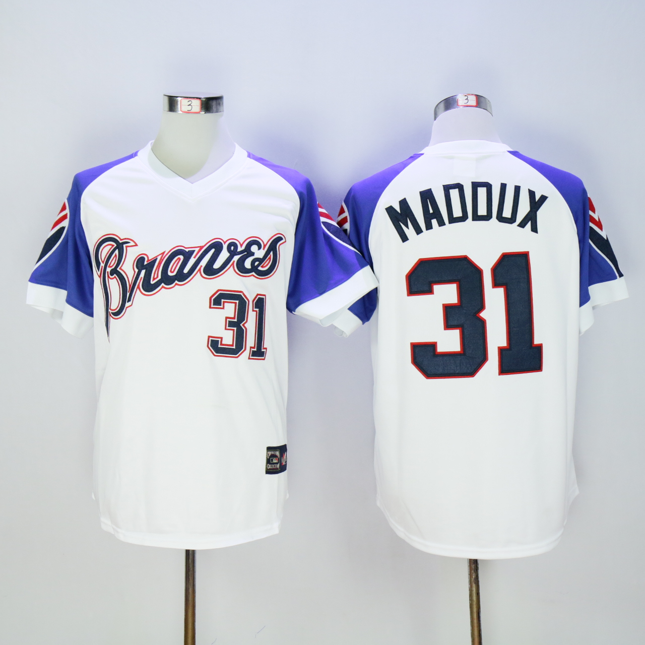 Men Atlanta Braves 31 Maddux White Throwback 1973 MLB Jerseys