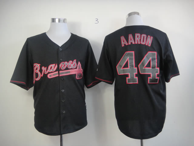 Men Atlanta Braves 44 Aaron Black MLB Jerseys