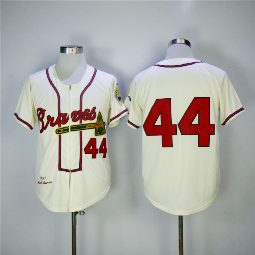 Men Atlanta Braves 44 Aaron Cream Throwback 1957 MLB Jerseys